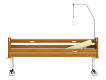 Wooden mobile hospital bed Royalty Free Stock Images
