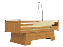 Wooden mobile hospital bed Stock Photos
