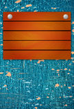 Wooden mock up board on wood texture with cracked paint Royalty Free Stock Photo