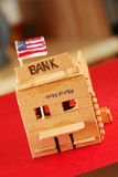 Wooden model of bank Stock Images