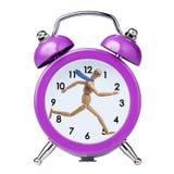 Wooden Model Businessman running in vintage clock alarm Royalty Free Stock Image