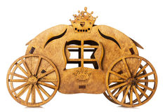 Wooden model of carriage isolated on the white background Stock Photos