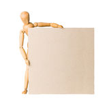 Wooden model dummy holding blank carton board Stock Image