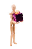 Wooden model with gift box Stock Photo