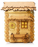 Wooden model of little house isolated on the white background Royalty Free Stock Images