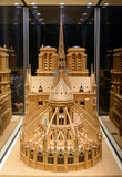 Wooden model of Notre Dame de Paris under a glass dome rear view Stock Images