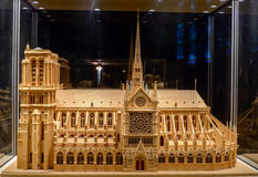 Wooden model Notre Dame de Paris under glass dome side view Stock Photo