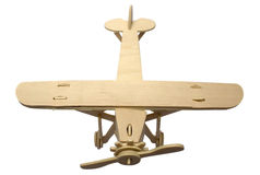 Wooden model of the plane. On a white background it is isolated Stock Photography