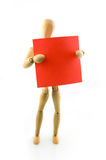A wooden model with red note Stock Photo