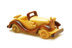 Wooden model of retro car isolated Royalty Free Stock Photography