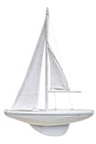 Wooden model of sailing yacht isolated on a white background Stock Photos