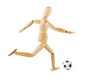 Wooden model with a soccer ball Royalty Free Stock Image