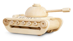 Wooden model of tank on the white background Royalty Free Stock Photos