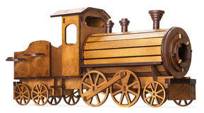 Wooden model of train isolated on the white background Royalty Free Stock Photo