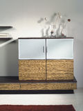 Wooden modern design furniture. With glass and stainless steel Royalty Free Stock Photography