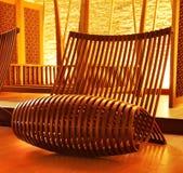 Wooden modern designed chair Stock Photos