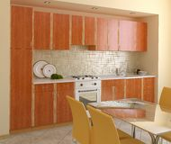 Wooden modern kitchen. Royalty Free Stock Photos
