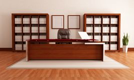 Wooden modern office Royalty Free Stock Photos