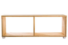 Wooden module shelf isolated on white background. Modren wooden furniture for office. Wooden designed shelf for home Stock Image