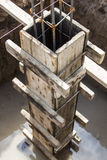 Wooden mold for make the concrete pillar Stock Image