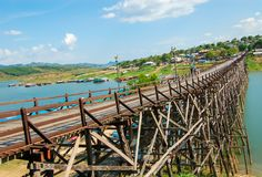Wooden Mon bridge Across the River , Kanchanaburi stock photo