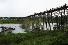 Wooden Mon Bridge. It is the longest wooden bridge in Thailand and it was built for comfortable transportation of people living in Sangkhlaburi and Mon Stock Image