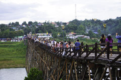 Wooden Mon Bridge. It is the longest wooden bridge in Thailand and it was built for comfortable transportation of people living in Sangkhlaburi and Mon Stock Photo