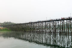 Wooden Mon Bridge @Thailand Royalty Free Stock Photography