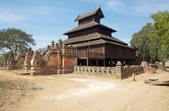 Wooden Monastery in Bagan Myanmar Royalty Free Stock Images