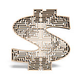 Wooden money shape maze isolated in white Stock Image