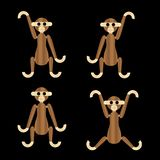 Wooden monkeys vector icons Stock Photography