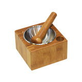 Wooden mortar Stock Image