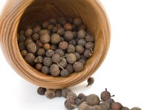 Wooden mortar with allspice Stock Images