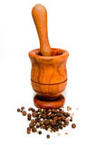 Wooden Mortar And Pestle Royalty Free Stock Image