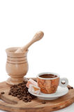Wooden mortar with coffee of coffee and turkish delight Stock Image
