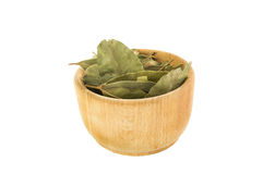 Wooden mortar with dried laurel leaves. Isolated over white Stock Photo