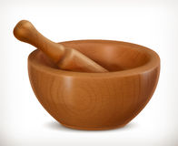 Wooden mortar icon Stock Photo