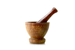 Wooden mortar Stock Images