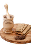 Wooden mortar with linen diet food and linen seeds Stock Photo