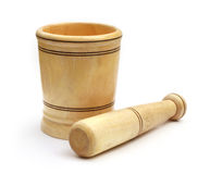 Wooden mortar with pestle Royalty Free Stock Photo