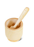 Wooden mortar with pestle Royalty Free Stock Photography