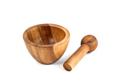 Wooden mortar and pestle Royalty Free Stock Photography