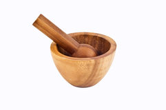 Wooden mortar and pestle Royalty Free Stock Photos