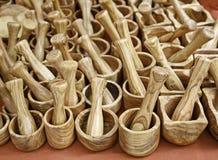 Wooden mortar and pestle. Wooden mortar, craftsmanship, handmade craft Stock Photo