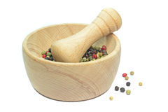 A wooden mortar and pestle Stock Photos