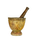 Wooden mortar and pestle on isolated white Royalty Free Stock Photography