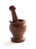 Wooden mortar with pestle Stock Photos