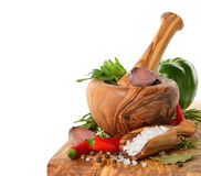 Wooden mortar and spices Stock Image
