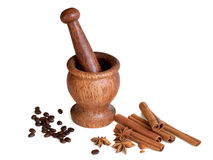 Wooden mortar, star anise, cinnamon, coffee Stock Image