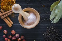 Wooden mortar and various spices stock images